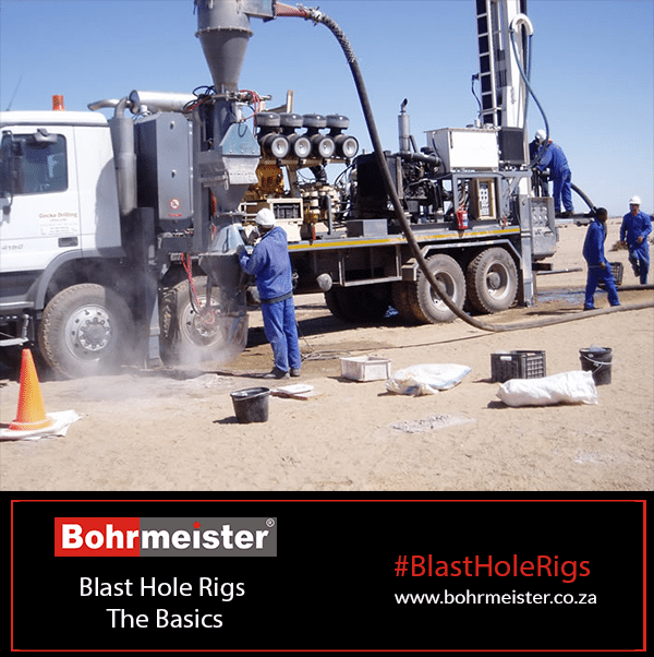 blast hole rig with guys using it